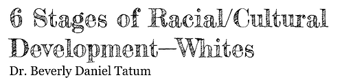 Six stages of racial/cultural development-- whites
