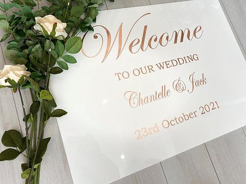 White Gloss Welcome Board