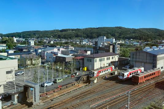 エレベーターホールからの眺め:三陸鉄道側