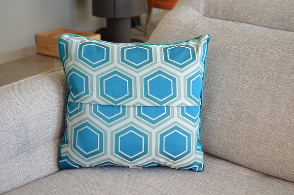 Plaid coud'coeur motif hexagones bleus