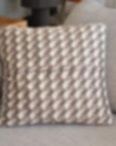 Coussin Plaid gris mosaïque gris rose fe