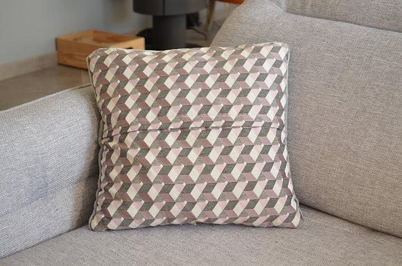 Plaid coud'coeur motif mosaïque gris/rose