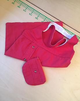 Tote bag et portemonnaie chemise rouge.j