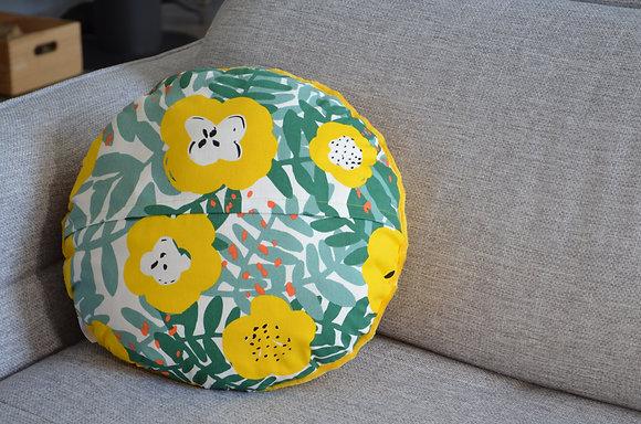 Plaid coud'coeur motif fleurs jaunes