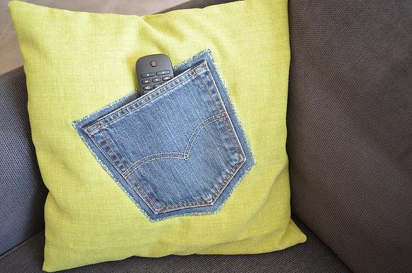 Housse coussin avec poche jean recyclé