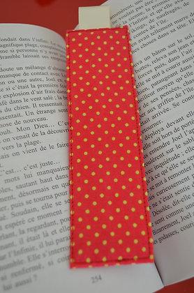 Marque-page rouge à pois jaunes ruban écru
