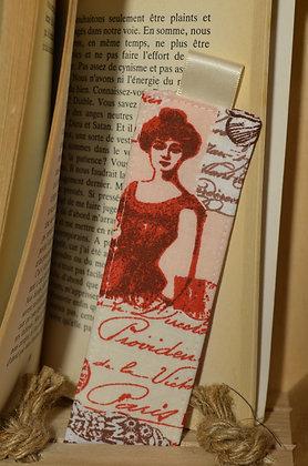 Marque-page motif parisienne rouge