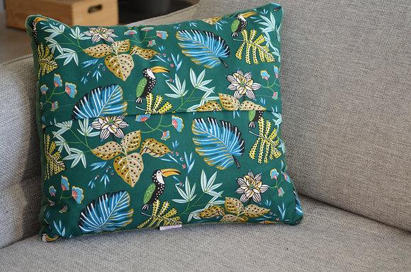 Plaid coud'coeur motif toucans verts