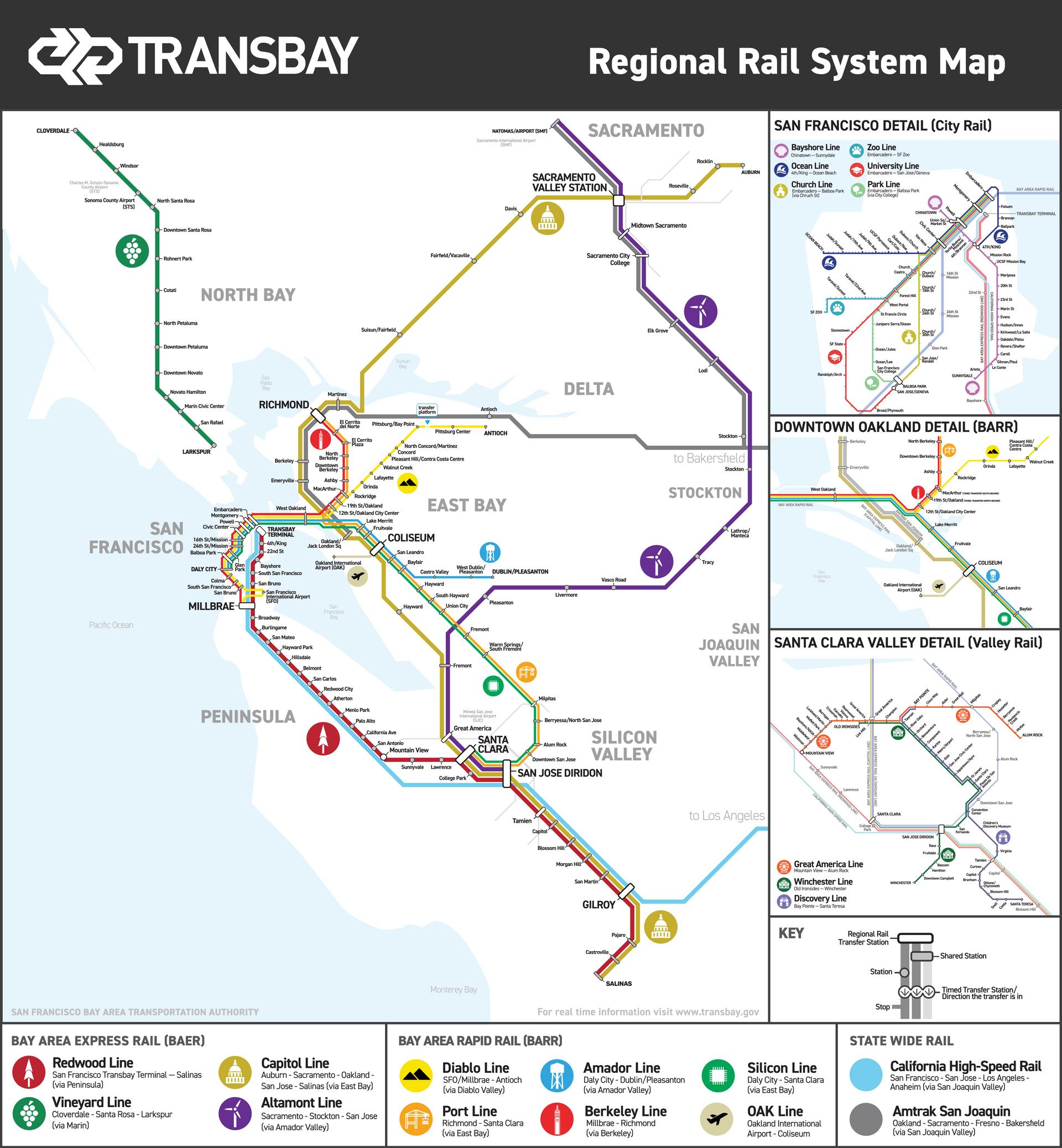Transbay Regional Rail System Map