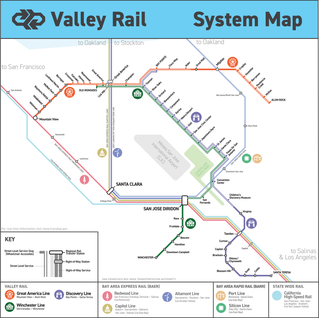 Valley Rail System Map