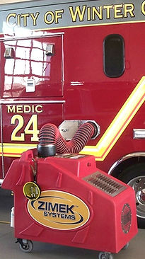 Zimek Micro Mist System disinfect decontaminate a fire rescue vehicle
