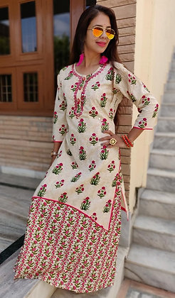 Cotton Double Layered Embroidered Dress