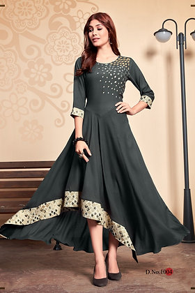 Rayon Long Kurti with Two-tone with Jacquard