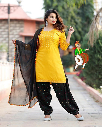 Rayon Patiala Dress with Foil Mirror and Embroidery Work