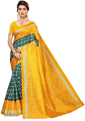 Art Silk Print Saree With Blouse