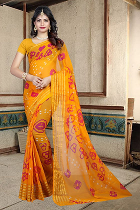 Chiffon Saree with 6 Patti Zari Weaving Hand Bandhej