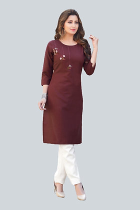Ruby Cotton Kurti with Embroidery Work