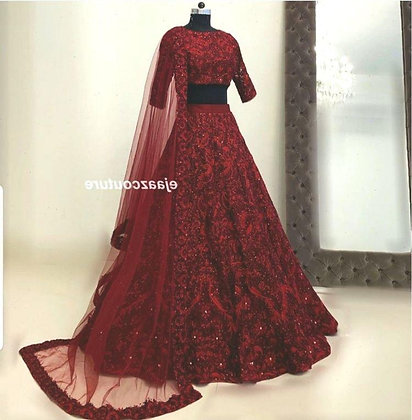 Heavy Soft Taffeta Silk with Rivet Moti Gown
