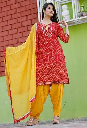 Rayon Patiala Dress with Dupatta Chunri Print and Gota