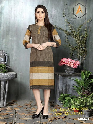 Dyed Strip Cotton Kurti with Handwork