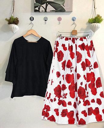 Rayon Top and Digital Printed Skirt