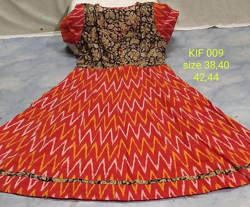 Ikkat Cotton Kurti With Kalamkari Yoke