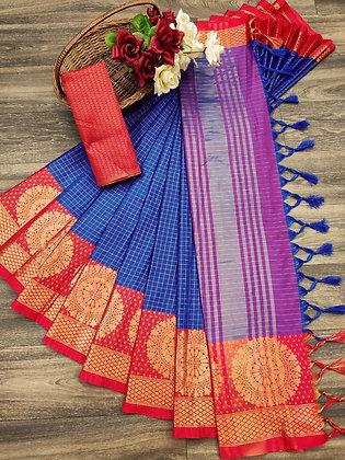 Soft Cotton Silk Saree with Border Blouse