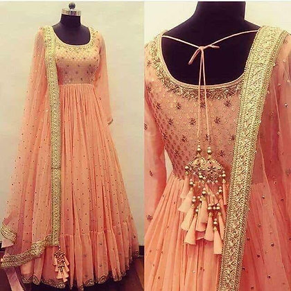 Georgette with Embroidery Designer Gown with Dupatta