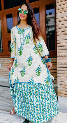 Cotton Double Layered Embroidered Kurti