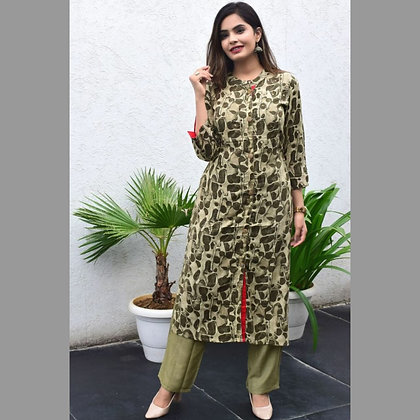 Kurti and Pants with Adda Work Embroidery