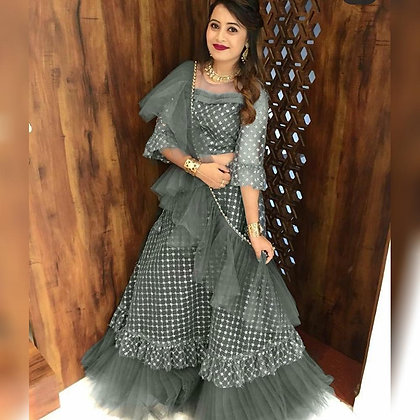 Grey Check Ruffle Lehenga (Semi-Stitched)