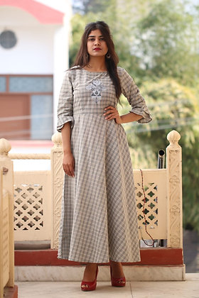 Embroidered Cotton Dress with Bell Sleeves