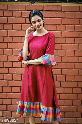 Trendy Designer Khadi Cotton Dress