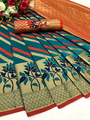 Cotton Silk Saree with Jacquard Rich Contrast Pallu