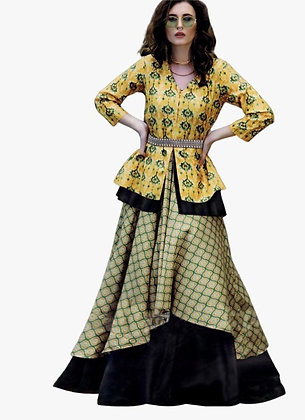 Three Piece Koti Style Dress with Print and Embroidery