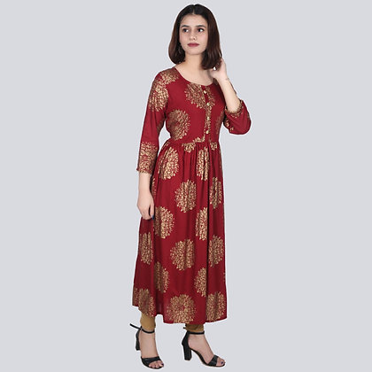 Rayon Gold Printed Gown