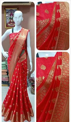 Soft Two-Tone Sana Silk Saree with Small Jacquard Butti Work