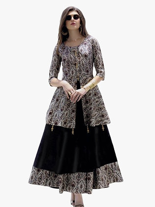 Three Piece Koti Style Dress with Print and Embriodery