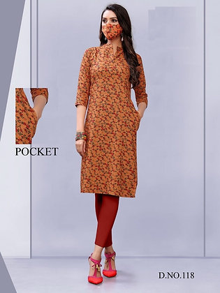 Rayon Printed Kurti with Mask and a Pocket