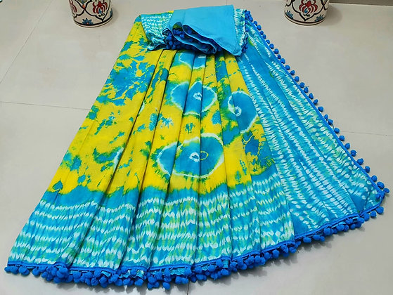 Cotton Pom Pom Sarees with Blouse