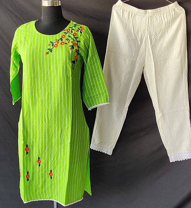 Rayon Embroidered Kurti and Pant