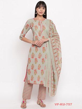 Cotton Kurti with Pants and Dupatta