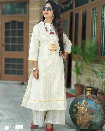Khadi Cotton Embroidered Kurti