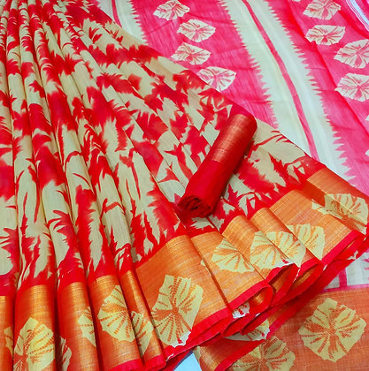 Colourful Cotton Printed Silk Saree with Contrast Border and Pallu