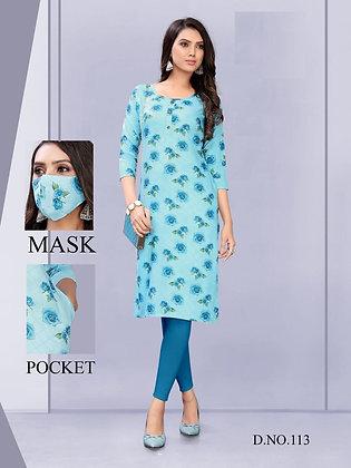Rayon Printed Kurti with Mask and a Pocket