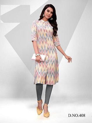 Ikat Cotton Print Design Kurti