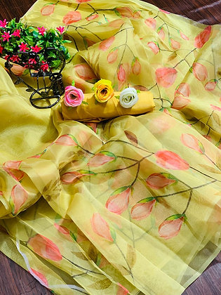 Soft Pure Organza Digital Printed Saree