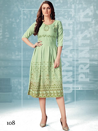 Rayon Kurti with Foil and Hand Work