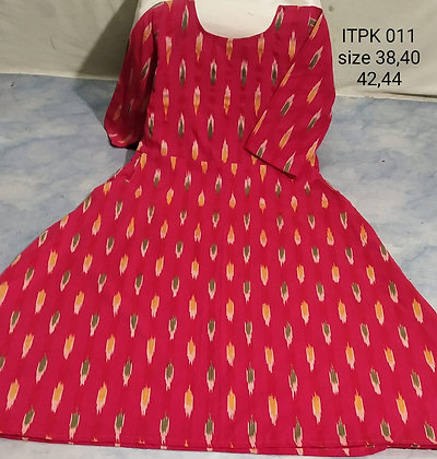 Ikkat Cotton Kurti with Pockets