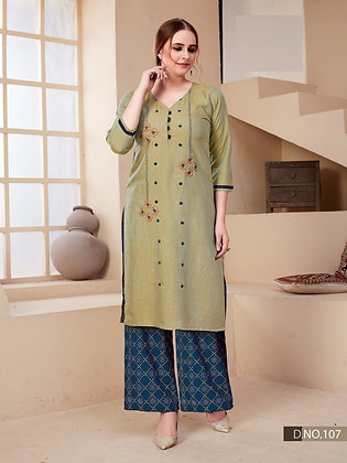 Stylish Palazzo Foil Print with Embroidery Work Kurti